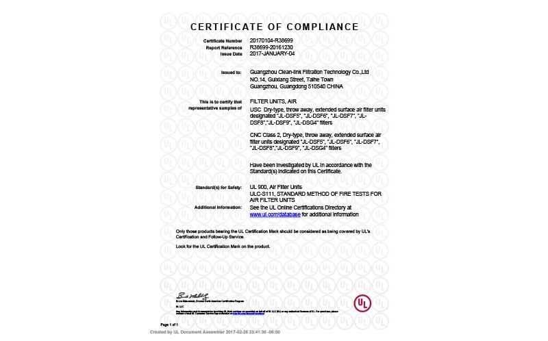 UL certification clean-link